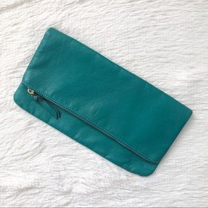 Old Navy Green Soft Large Foldover Zip Clutch